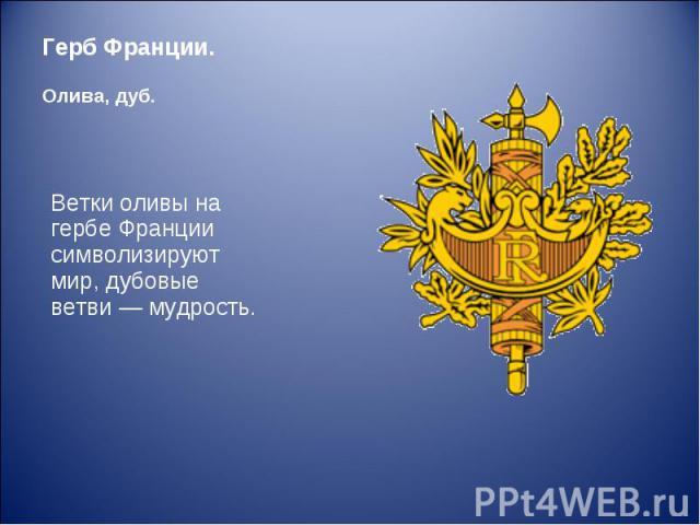 Ветки оливы на гербе Франции символизируют мир, дубовые ветви — мудрость. Ветки оливы на гербе Франции символизируют мир, дубовые ветви — мудрость.