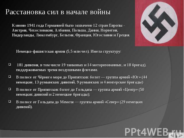 Немецко-фашистская армия (5,5 млн чел). Имела структуру: 181 дивизия, в том числе 19 танковых и 14 моторизованных, и 18 бригад), поддерживаемых тремя воздушными флотами. В полосе от Чёрного моря до Припятских болот — группа армий «Юг» (44 немецкие, …
