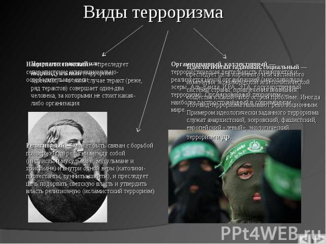 Неорганизованный или индивидуальный(терроризм одиночек)— в этом случае теракт (реже, ряд терактов) совершает один-два человека, за которыми не стоит какая-либо организация Неорганизованный или индивидуальный(терроризм одиночек)&nbs…