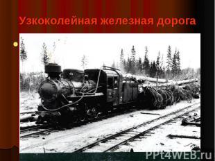 Узкоколейная железная дорога Предназначена для перевозки заготовленной в лесу др