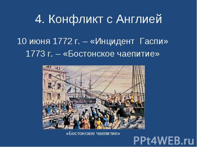 10 июня 1772 г. – «Инцидент Гаспи» 10 июня 1772 г. – «Инцидент Гаспи» 1773 г. – «Бостонское чаепитие»