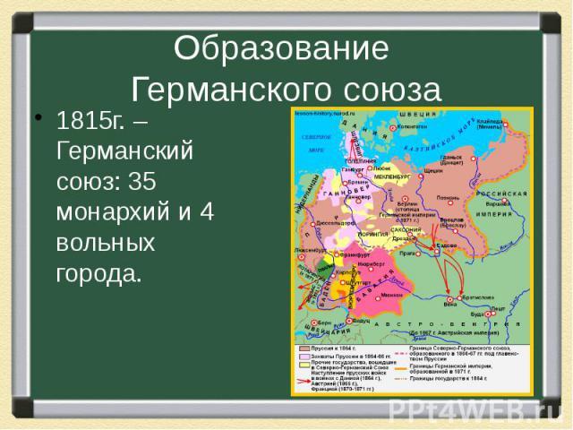 Образование Германского союза 1815г. – Германский союз: 35 монархий и 4 вольных города.