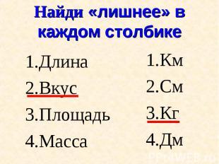 Длина Длина Вкус Площадь Масса