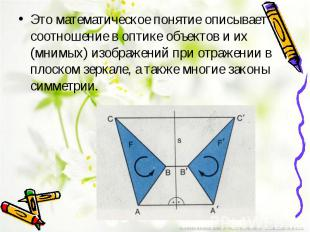 Это математическое понятие описывает соотношение в оптике объектов и их (мнимых)