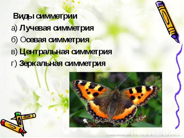 Виды симметрии а)Лучевая симметрия б)Осевая симметрия в)Центральная симметрия г)Зеркальная симметрия