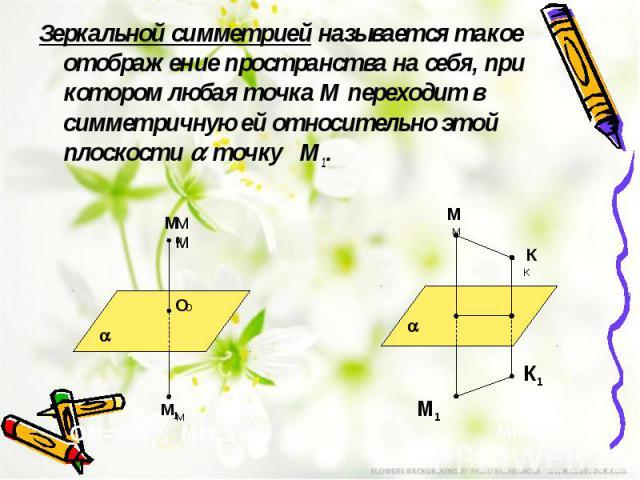 Зеркальной симметрией называется такое отображение пространства на себя, при котором любая точка М переходит в симметричную ей относительно этой плоскости точку М1. Зеркальной симметрией называется такое отображение пространства на себя, при котором…