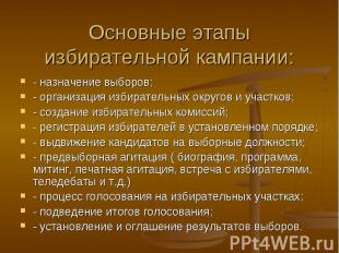 Основные этапы избирательной кампании: - назначение выборов; - организация избир