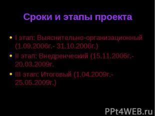 I этап: Выяснительно-организационный (1.09.2006г.- 31.10.2006г.) I этап: Выяснит