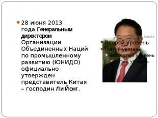 28 июня 2013 годаГенеральным директором Организации Объединенных Наций по