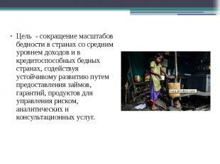 Цель - сокращение масштабов бедности в странах со средним уровнем доходов и в кр