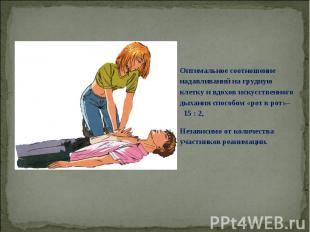 Оптимальное соотношение надавливаний на грудную клетку и вдохов искусственного д