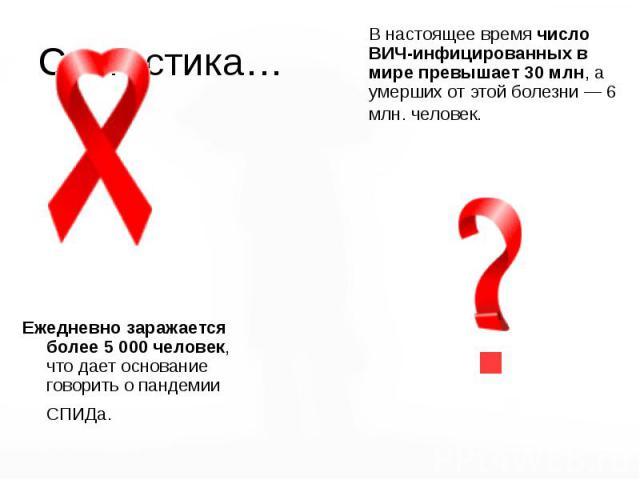 Статистика… В настоящее время число ВИЧ-инфицированных в мире превышает 30 млн, а умерших от этой болезни — 6 млн. человек.