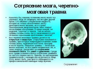 Сотрясение мозга, черепно-мозговая травма Казалось бы, нашему головному мозгу ма