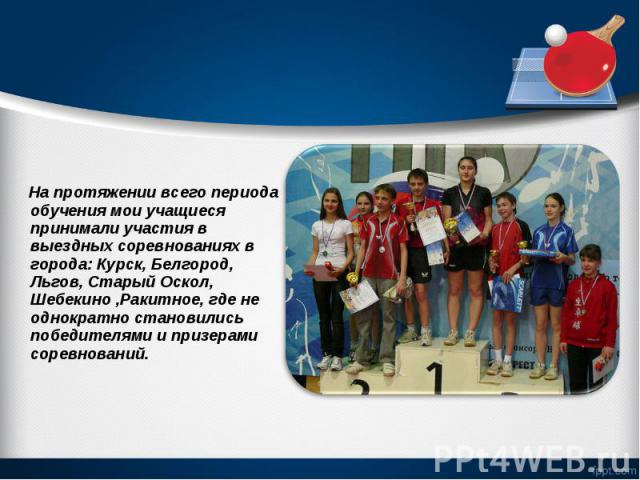 На протяжении всего периода обучения мои учащиеся принимали участия в выездных соревнованиях в города: Курск, Белгород, Льгов, Старый Оскол, Шебекино ,Ракитное, где не однократно становились победителями и призерами соревнований. На протяжении всего…