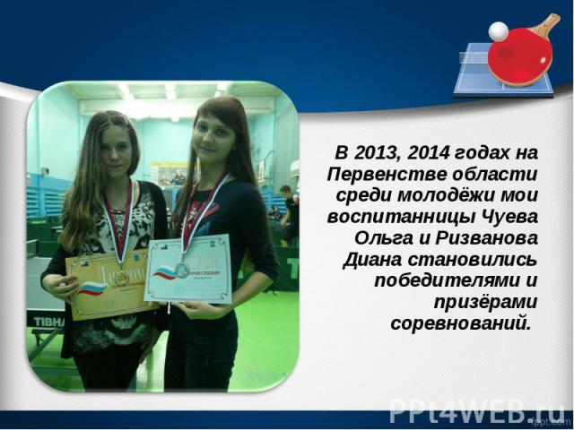 В 2013, 2014 годах на Первенстве области среди молодёжи мои воспитанницы Чуева Ольга и Ризванова Диана становились победителями и призёрами соревнований. В 2013, 2014 годах на Первенстве области среди молодёжи мои воспитанницы Чуева Ольга и Ризванов…