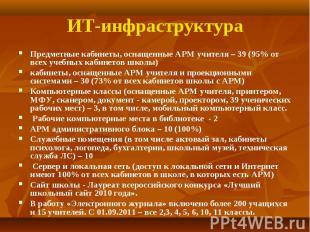 Предметные кабинеты, оснащенные АРМ учителя – 39 (95% от всех учебных кабинетов