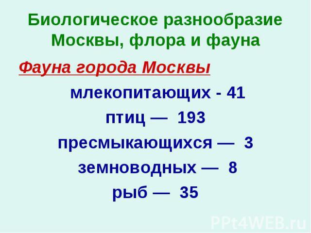 Фауна города Москвы Фауна города Москвы млекопитающих - 41 птиц — 193 пресмыкающихся — 3 земноводных — 8 рыб — 35