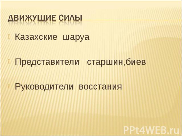 Казахские шаруа Казахские шаруа Представители старшин,биев Руководители восстания