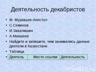 Деятельность декабристов М. Муравьев-Апостол С.Семенов И.Завалишин А.Макшеев Най