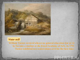 William Turner received almost no general education but at 14 he became a studen