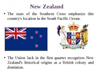 New Zealand The stars of the Southern Cross emphasize this country's location in