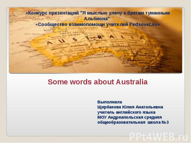 Some words about Australia
