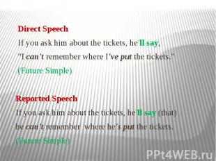"""Direct Speech If you ask him about the tickets, he'll say, """"I can't remembe"""