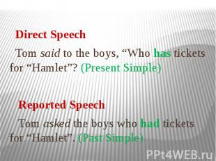 """Direct Speech Tom said to the boys, """"Who has tickets for """"Hamlet""""? (Present Simp"""