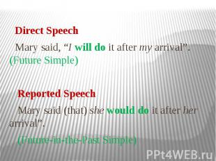 """Direct Speech Mary said, """"I will do it after my arrival"""". (Future Simple) Report"""