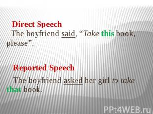 "The boyfriend said, ""Take this book, please"". Reported Speech The boyfriend aske"