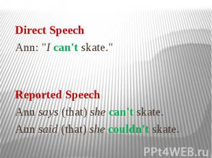 "Direct Speech Ann: ""I can't skate."" Reported Speech Ann says (that) sh"