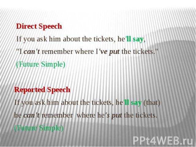 """Direct Speech If you ask him about the tickets, he'll say, """"I can't remember where I've put the tickets."""" (Future Simple) Reported Speech If you ask him about the tickets, he'll say (that) he can't remember where he's put the tickets. (Fut…"""