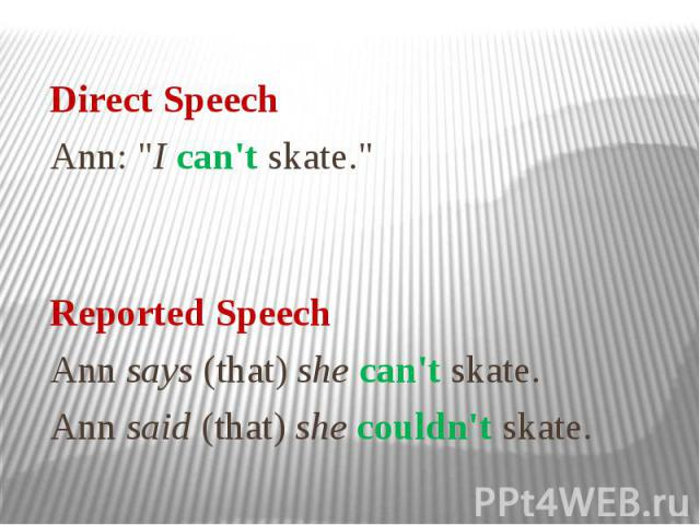 """Direct Speech Ann: """"I can't skate."""" Reported Speech Ann says (that) she can't skate. Ann said (that) she couldn't skate."""