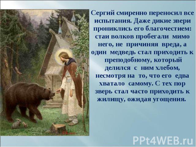Сергий смиренно переносил все испытания. Даже дикие звери прониклись его благочестием: стаи волков пробегали мимо него, не причиняя вреда, а один медведь стал приходить к преподобному, который делился с ним хлебом, несмотря на то, что его едва хвата…
