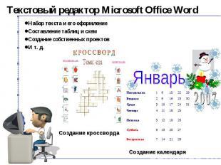 Текстовый редактор Microsoft Office Word Набор текста и его оформление Составлен