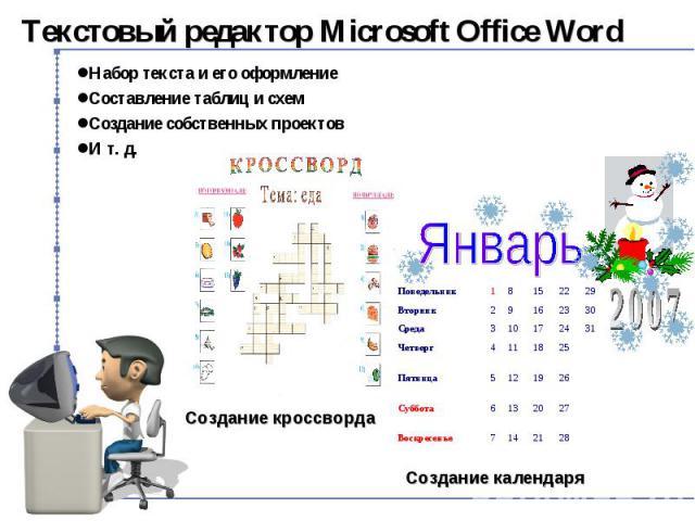 Текстовый редактор Microsoft Office Word Набор текста и его оформление Составление таблиц и схем Создание собственных проектов И т. д.