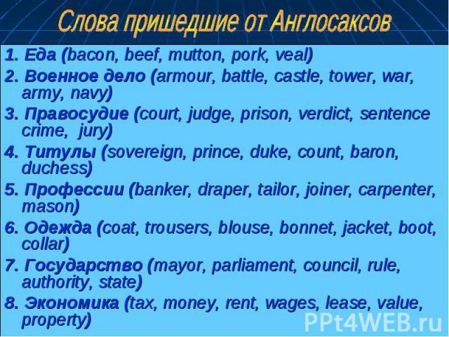 1. Еда (bacon, beef, mutton, pork, veal) 1. Еда (bacon, beef, mutton, pork, veal) 2. Военное дело (armour, battle, castle, tower, war, army, navy) 3. Правосудие (court, judge, prison, verdict, sentence crime, jury) 4. Титулы (sovereign, prince, duke…