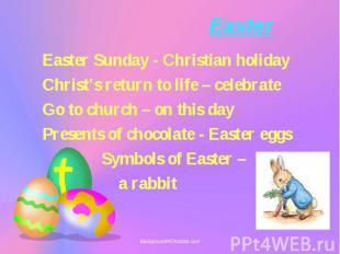 Easter Sunday - Christian holiday Easter Sunday - Christian holiday Christ's ret