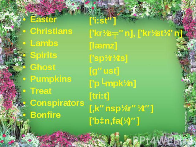 Easter Easter Christians Lambs Spirits Ghost Pumpkins Treat Conspirators Bonfire