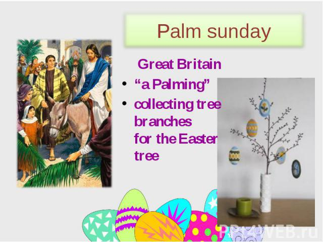 """Great Britain Great Britain """"a Palming"""" сollecting tree branches for the Easter tree"""