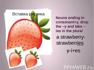 Nouns ending in consonant+y, drop the –y and take –ies in the plural a strawberr