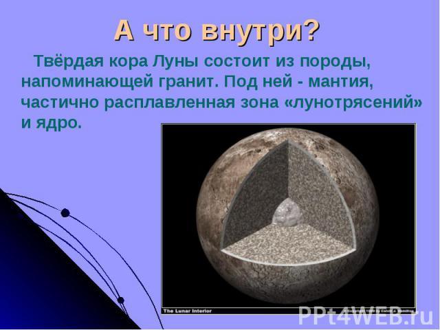 Твёрдая кора Луны состоит из породы, напоминающей гранит. Под ней - мантия, частично расплавленная зона «лунотрясений» и ядро. Твёрдая кора Луны состоит из породы, напоминающей гранит. Под ней - мантия, частично расплавленная зона «лунотрясений» и ядро.