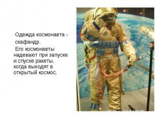Одежда космонавта - Одежда космонавта - скафандр. Его космонавты надевают при за