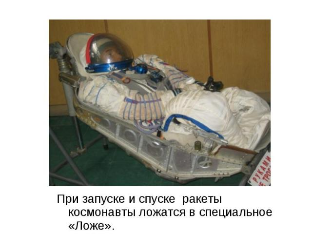При запуске и спуске ракеты космонавты ложатся в специальное «Ложе». При запуске и спуске ракеты космонавты ложатся в специальное «Ложе».