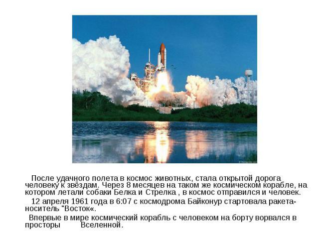 После удачного полета в космос животных, стала открытой дорога человеку к звёздам. Через 8 месяцев на таком же космическом корабле, на котором летали собаки Белка и Стрелка , в космос отправился и человек. 12 апреля 1961 года в 6:07 с космодрома Бай…