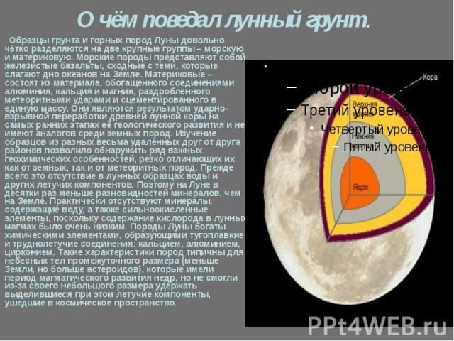 О чём поведал лунный грунт. Образцы грунта и горных пород Луны довольно чётко разделяются на две крупные группы – морскую и материковую. Морские породы представляют собой железистые базальты, сходные с теми, которые слагают дно океанов на Земле. Мат…