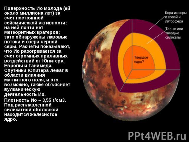 Поверхность Ио молода (ей около миллиона лет) за счет постоянной сейсмической активности: на ней почти нет метеоритных кратеров; зато обнаружены лавовые потоки и озера черной серы. Расчеты показывают, что Ио разогревается за счет огромных приливных …