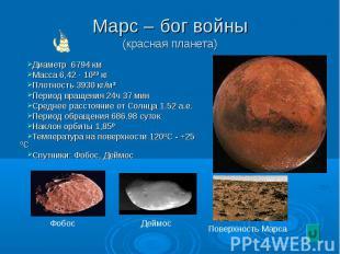 Диаметр 6794 км Диаметр 6794 км Масса 6,42 · 10²³ кг Плотность 3930 кг/м³ Период