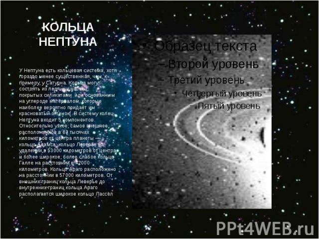 КОЛЬЦА НЕПТУНА У Нептуна естькольцевая система, хотя гораздо менее существенная, чем, к примеру, уСатурна. Кольца могут состоять из ледяных частиц, покрытыхсиликатами или основанным науглероде материалом, которые наиболее вер…