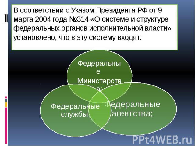 В соответствии с Указом Президента РФ от 9 марта 2004 года №314 «О системе и структуре федеральных органов исполнительной власти» установлено, что в эту систему входят: